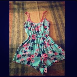 UltraFlirt, Small blue (teal) floral ROMPER
